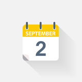 2 september calendar icon. On grey background Stock Photography