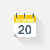20 september calendar icon. On grey background Royalty Free Stock Photo