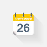 26 september calendar icon. On grey background Stock Image