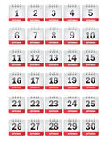 September Calendar Icons Stock Image