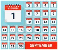 September 1 - September 30 - Calendar Icons royalty free stock image