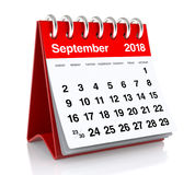 September 2018 Calendar. Isolated on White Background. 3D Illustration Stock Image