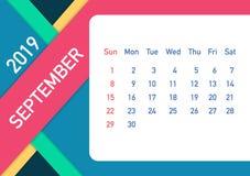 September 2019 Calendar Leaf. Calendar 2019 in flat style. A5 size. Vector illustration. September 2019 Calendar Leaf. Calendar 2019 in flat style. A5 size royalty free illustration