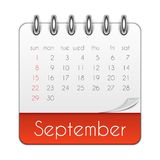September 2019 Calendar Leaf Template Vector Illustration. EPS10 vector illustration