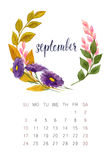 September calendar. New watercolor calendar with floral wreath and hand lettering. Modern calligraphy poster. September 2017 Royalty Free Stock Photos