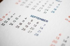 September calendar page with months and dates. Close up stock image