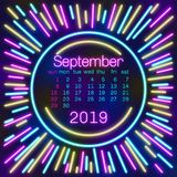 2019. September Calendar page in neon effect style poster for concept typography design, flat color. Week starts on Sunday Happy N. Ew year. Illustration Stock Illustration