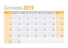 September. Calendar Planner 2019 in clean minimal table simple style. Vector illustration. September. Calendar Planner 2019 in clean minimal table simple style royalty free illustration