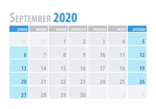 September. Calendar Planner 2020 in clean minimal table simple style. Vector illustration. September. Calendar Planner 2020 in clean minimal table simple style vector illustration