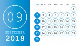 September 2018 calendar. Calendar planner design template. Week. Starts on Sunday. Business vector illustration Royalty Free Stock Image
