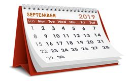 September 2019 calendar Royalty Free Stock Photo
