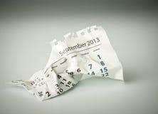 September. Crumpled calendar sheet Royalty Free Stock Photo