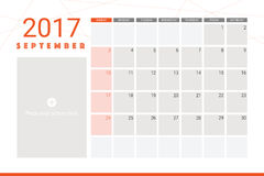 September 2017 calendar. With space for picture Royalty Free Stock Image
