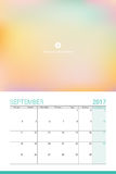 September 2017 calendar. With space for your picture Royalty Free Stock Photos