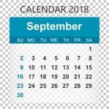 September 2018 calendar. Calendar sticker design template. Week Royalty Free Stock Photography