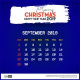 September 2019 Calendar Template. merry Christmas and Happy new year blue background royalty free illustration
