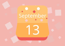 September 13 calendar. Vector flat design. On a bright . September 13 calendar. Vector flat design. On a bright background Royalty Free Stock Photo