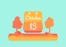 September 13 calendar. Vector flat design. On a bright . September 13 calendar. Vector flat design. On a bright background Stock Images