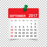 September 2017 Calendar. September 2017. Calendar vector illustration Royalty Free Stock Photos