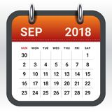 September 2018 calendar vector illustration. Simple and clean design Royalty Free Stock Photo