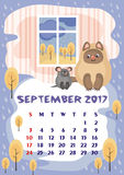 September 2017 calendar. Wall calendar for  September,  2017 with an amusing cat. Fun children`s illustration in cartoon style. Colorful background. Vertical Stock Images