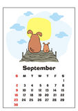 September 2018 calendar. Wall calendar for  september, 2018 with funny dogs. Fun children`s illustration in cartoon style. Colorful vector background. Vertical Stock Photos