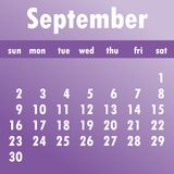 September calendar 2018.  Week starts on Sunday. Business vector. Illustration  template for one month 2018 years Royalty Free Stock Photo
