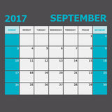 September 2017 calendar week starts on Sunday. Stock vector Royalty Free Stock Image
