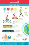 September 22 Car Free Day Vector Illustration. September 22, car free day poster, showing statistics on walking and cycling, taking bus and train, clean land vector illustration