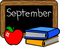 September chalkboard. September headline on a chalkboard illustration with schoolbooks and an apple...black area can easily be covered with another phrase Stock Photos