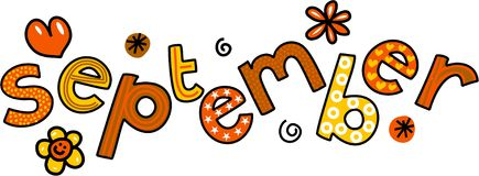 September Clip Art. Whimsical cartoon text doodle for the month of September Royalty Free Stock Photo