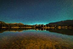 SEPTEMBER 18, 2018 - COLORADO, USA, Molas Lake with stars at night, South of Silverton, Route 550 royalty free stock photo