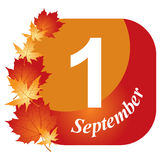 September 1. Congratulatory card September 1 with maple leaves Royalty Free Stock Photos