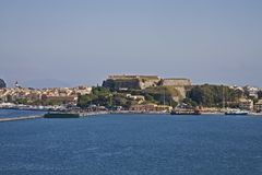 Water view of Corfu fort royalty free stock images
