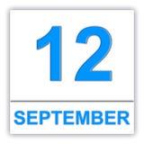 12 september Dag op de kalender Stock Afbeelding