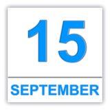 15 SEPTEMBER Dag op de kalender Stock Afbeelding