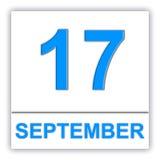 17 september Dag op de kalender Royalty-vrije Stock Foto