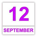 12 september Dag op de kalender Stock Afbeeldingen