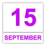 15 SEPTEMBER Dag op de kalender Stock Foto's