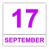 17 september Dag op de kalender Stock Foto's