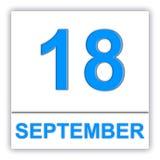September 18 Dag på kalendern royaltyfri illustrationer