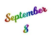 8. September Datum des Monats-Kalenders, machte kalligraphisches 3D Text-Illustration gefärbt mit RGB-Regenbogen-Steigung Stockbilder