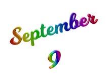 9. September Datum des Monats-Kalenders, machte kalligraphisches 3D Text-Illustration gefärbt mit RGB-Regenbogen-Steigung Stockbild