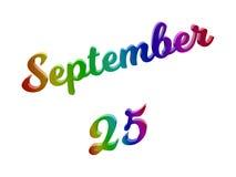 25. September Datum des Monats-Kalenders, machte kalligraphisches 3D Text-Illustration gefärbt mit RGB-Regenbogen-Steigung Stockbilder
