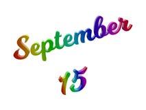15. September Datum des Monats-Kalenders, machte kalligraphisches 3D Text-Illustration gefärbt mit RGB-Regenbogen-Steigung Lizenzfreies Stockfoto