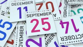 September 25 datum p? kalendersidan framf?rande 3d stock illustrationer