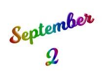 2 september Datum van Maandkalender, Kalligrafische 3D Teruggegeven Tekstillustratie kleurde met RGB Regenbooggradiënt Royalty-vrije Stock Foto