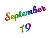 19 september Datum van Maandkalender, Kalligrafische 3D Teruggegeven Tekstillustratie kleurde met RGB Regenbooggradiënt Royalty-vrije Stock Afbeeldingen
