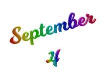 4 september Datum van Maandkalender, Kalligrafische 3D Teruggegeven Tekstillustratie kleurde met RGB Regenbooggradiënt Stock Fotografie