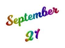 21 september Datum van Maandkalender, Kalligrafische 3D Teruggegeven Tekstillustratie kleurde met RGB Regenbooggradiënt Stock Foto's